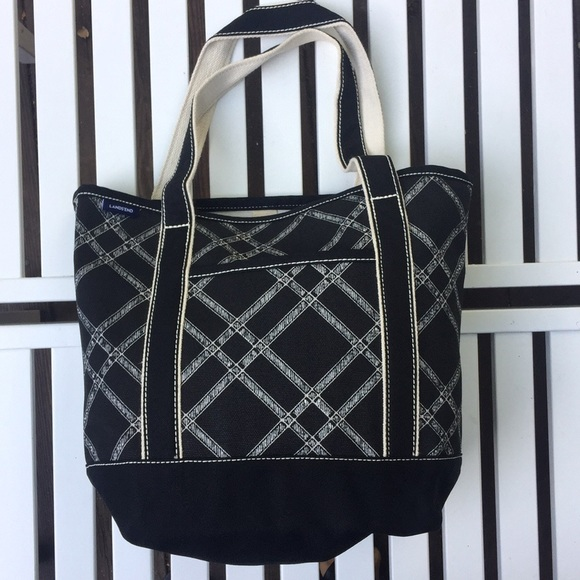 b7b131966b6e Lands End Black Print Open Medium Canvas Bag.18107